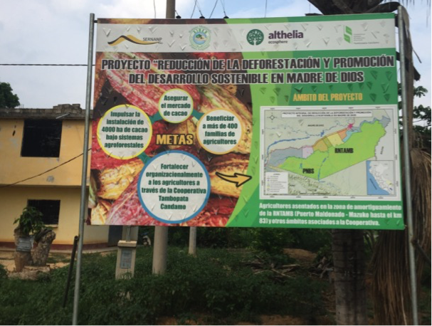 Billboard presenting the agroforestry project in area 2 (of 7)
